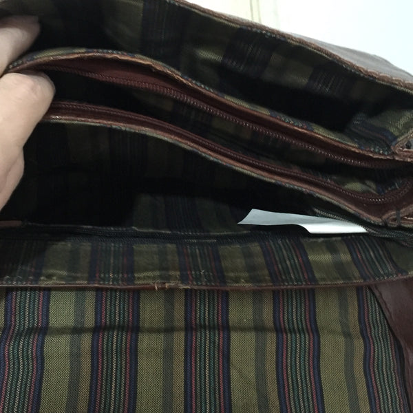 VINTAGE Brown 70's LOVELY Checked Lining GENUINE LEATHER