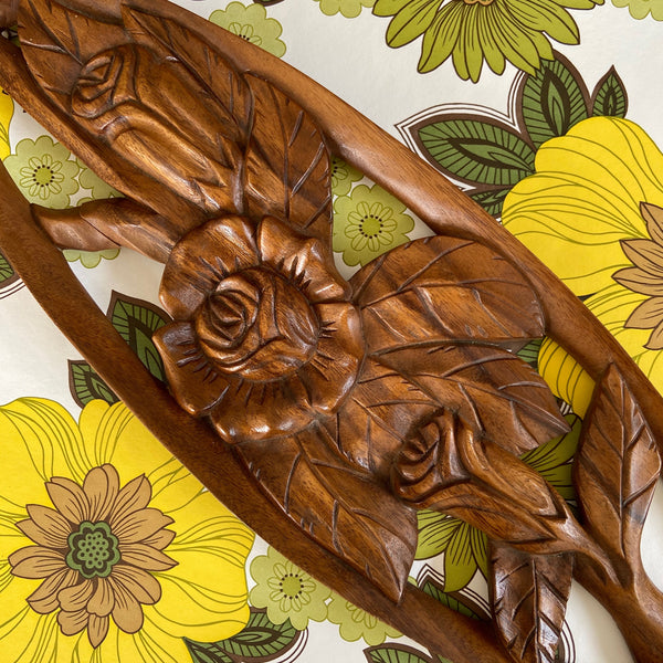70's Retro WOOD Timber Carving Wall Hanging Picture FLORAL