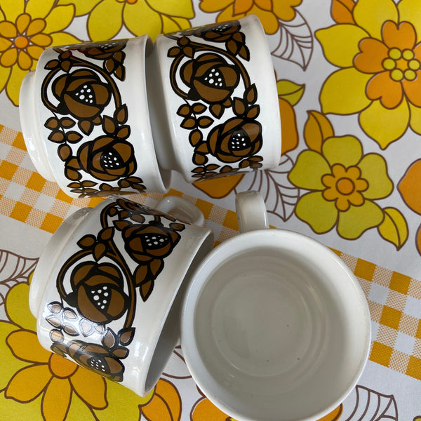 SET of 4 Staffordshire Mugs CUPS & Saucers RETRO Home