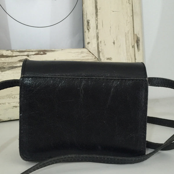 VINTAGE Rustic Black Cross BODY Genuine LEATHER Handbag Several Compartments