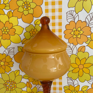 Vintage Italian Amber Glass Apothecary Lolly Jar STUNNING