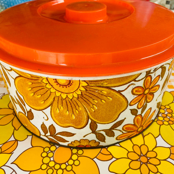 Willow Bread Cake Biscuit TIN Floral Retro Kitchen 70's