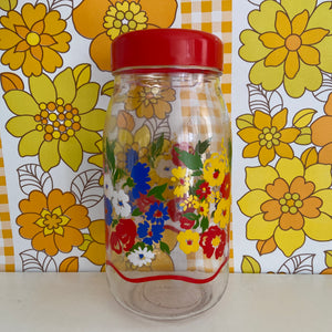 Made in FRANCE Floral Vintage Jar LARGE Buttons Storage