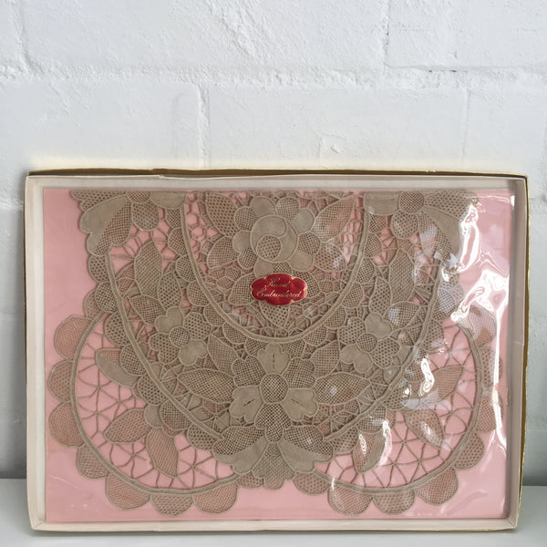 Hand Embroidered Boxed Vintage Lace Doily Set