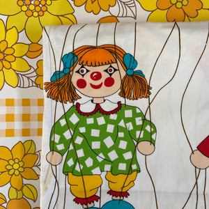 ALL Cotton THICK Retro Childs Fabric Dolls BRIGHT LARGE Print