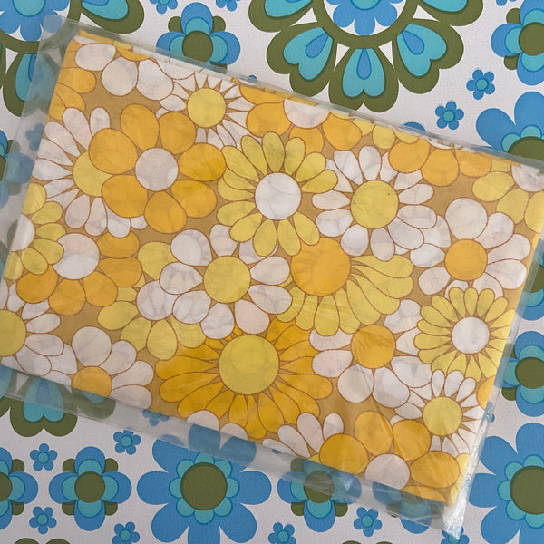 ST Charles BRIGHT Yellow 70's PAIR Cotton Pillow CASES