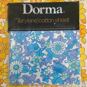 DORMA Sheet Cotton RETRO GOLD Unused 70's Made in UK