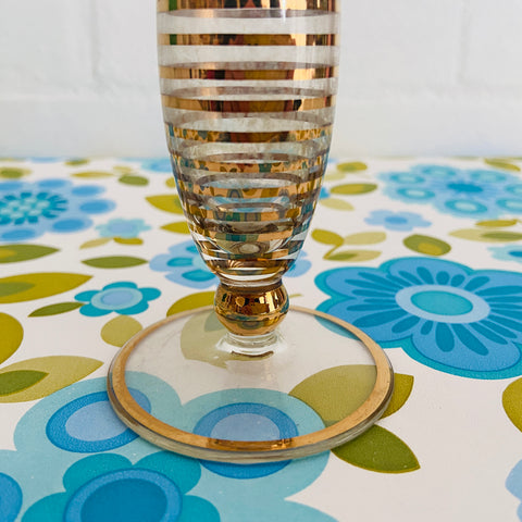 Adorable VINTAGE Gold Striped GLASS VASE Vintage Mid Century