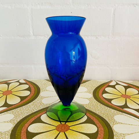 BLUE & GREEN Mid Century Glass VASE Retro Living Space