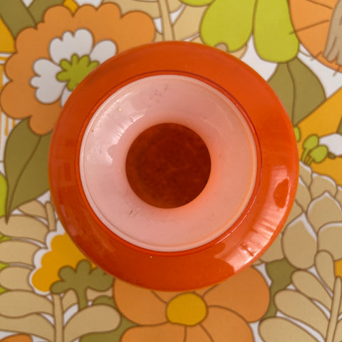 Cute Vintage Orange GLASS VASE Retro 70's HOME