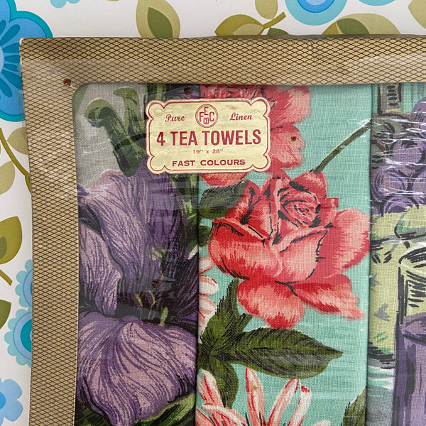 PACK of FOUR Vintage Pure Linen TEA TOWELS BOXED