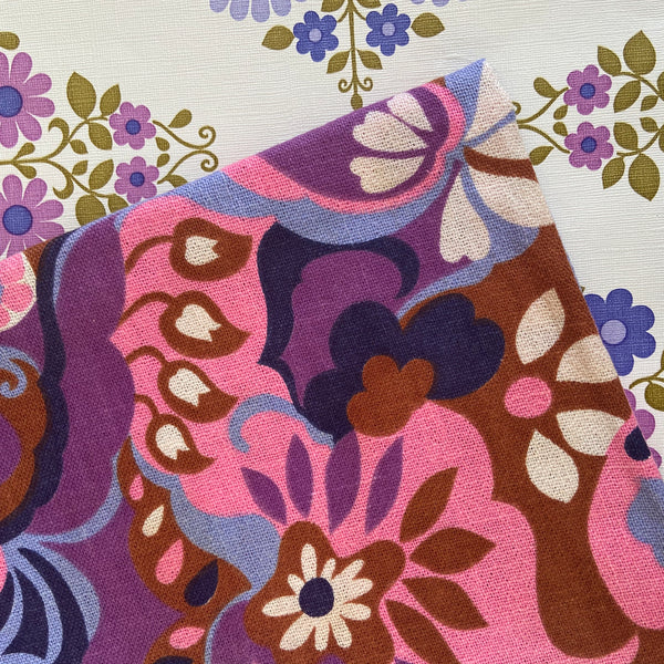 Beautiful Vintage Pinks & Purple Thick Upholstery FABRIC RETRO