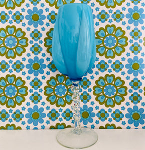 HUGE Italian BLUE Mid Century GLASS Long Stem