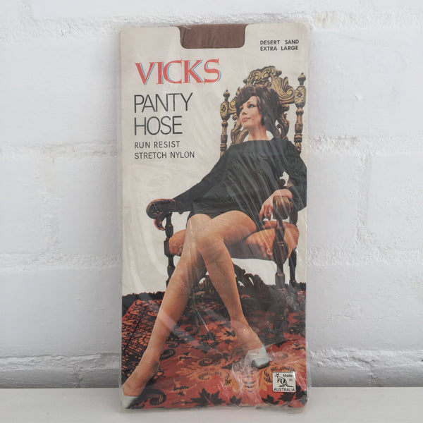 VICKS Run RESIST Vintage 70's Sexy Lady Packaging KOLOTEX Panty HOSE Desert SAND
