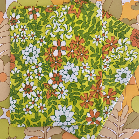 Vintage UNUSED Pair of Pillow CASES Original Pack COTTON RETRO 70's Green