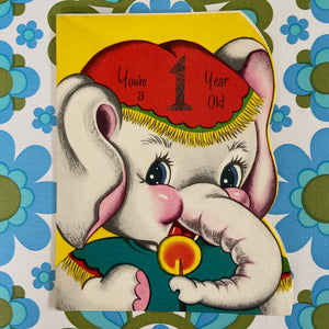 ELEPHANT Vintage 60's BIRTHDAY CARD Collectable RETRO PRINT