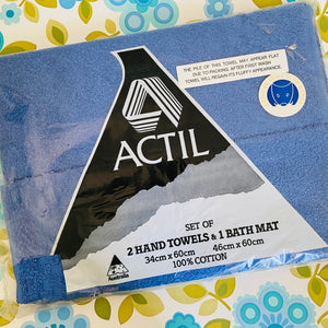 ACTIL 2 Hand Towels & 1 Bath MAT UNUSED RETRO HOME