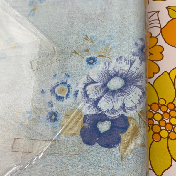 All Cotton Vintage UNUSED Sheets 1 Pair Pretty Blue Floral Fabric