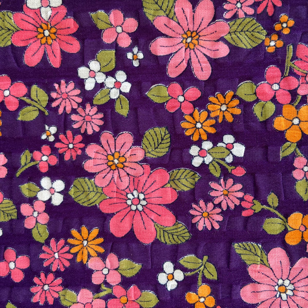 SEERSUCKER Fabric Floral Adorable Rare Bright Crepe x 3 Metres