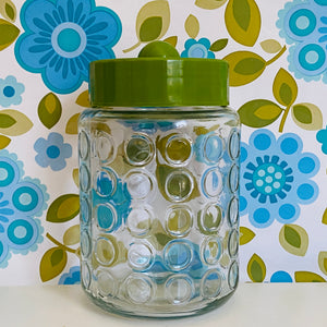Vintage Green Jar x 1 GLASS Craft Buttons Kitchen 70's