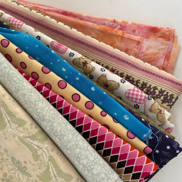 LARGE Fabric Lot Cotton Patchwork QUILTS Sewing