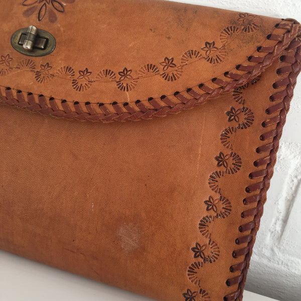 WORN Thrashed BOHO Vintage CLUTCH Purse 70's TOOLED