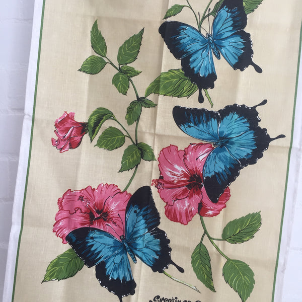 VINTAGE Gold Coast Butterflies Tea Towel Collectable Souvenir Floral Print