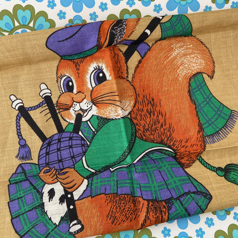 SO CUTE Vintage UNUSED Tea Towel WALL HANGING Squirrel
