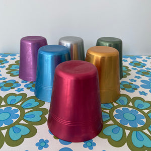 RETRO Anodised CUPS Set of SIX Picnic Caravan