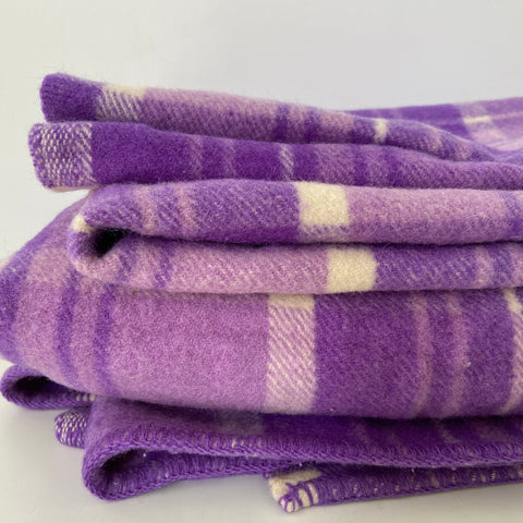 PURE WOOL Purple Blanket Checked Rug VINTAGE