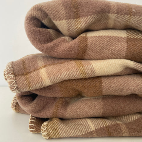 BEAUTIFUL Brown Vintage Checked Blanket WOOL