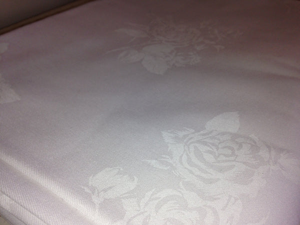 Vintage DAMASK Vintage Linen Table Cloth Fabric LARGE 220cms ~ Vintage - Pink Peacock  - 4