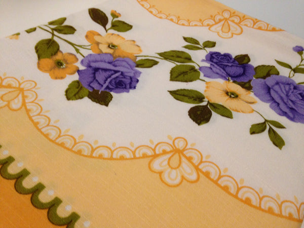DIVINE Yellow & Purple Flower Vintage Table Cloth - Pink Peacock  - 4