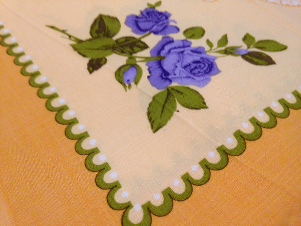 DIVINE Yellow & Purple Flower Vintage Table Cloth - Pink Peacock  - 7