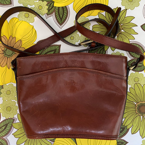 CELLINI Vintage Genuine LEATHER Handbag Cute Long STRAP