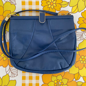 Cute Blue Vintage Genuine LEATHER Handbag