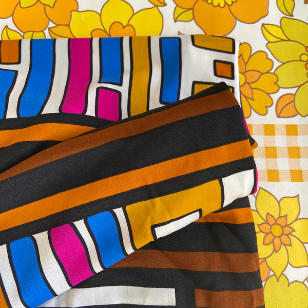 Large Polyester RETRO Vintage FABRIC Cool Bright Pattern