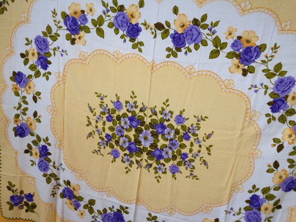 DIVINE Yellow & Purple Flower Vintage Table Cloth - Pink Peacock  - 9