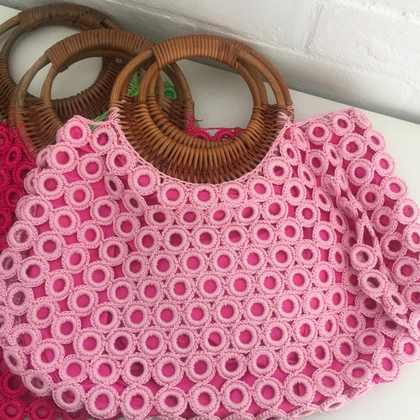 ADORABLE NEW Cute Knitted Bags with Cane Handle Market Day