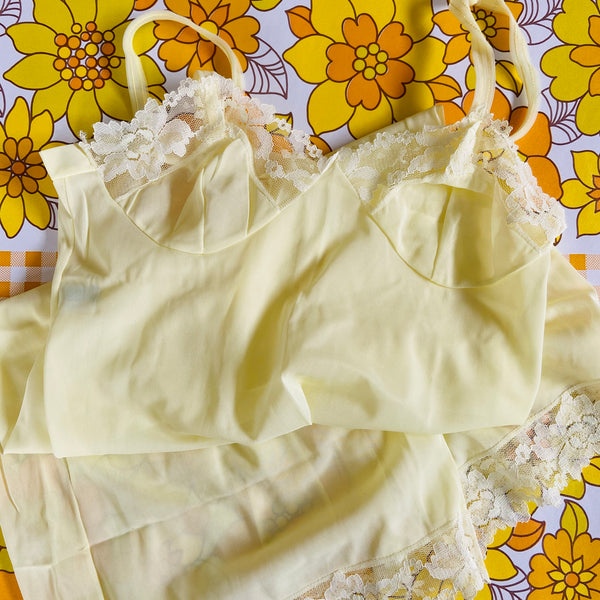 Cute Yellow SLIP Lingerie 60's Fashion RETRO Dress SWEET
