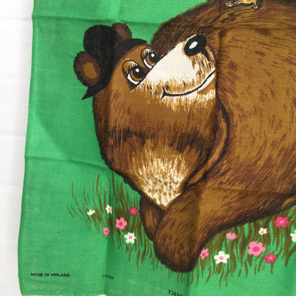 RETRO Irish Linen Tea Towel Wall Hanging Vintage Kitchen