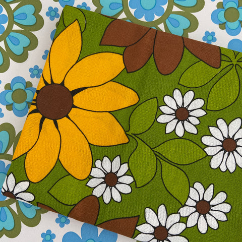 UNUSED New Old Stock GREEN Retro Table Cloth Cotton
