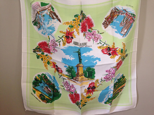 Cool Old Adelaide Linen Table Cloth Vintage - Pink Peacock  - 4