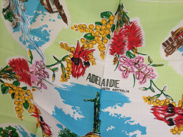 Cool Old Adelaide Linen Table Cloth Vintage - Pink Peacock  - 5