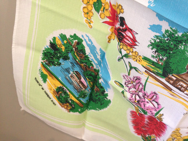 Cool Old Adelaide Linen Table Cloth Vintage - Pink Peacock  - 7