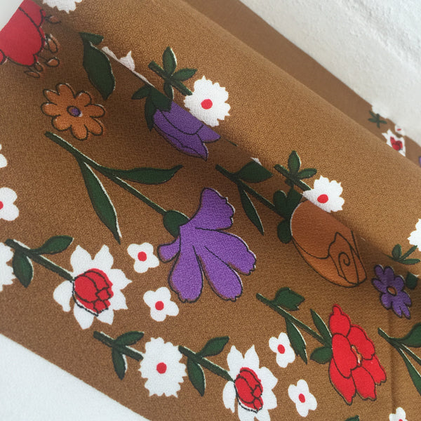 Cute Vintage Cotton Card Table Cloth 50's Floral Print Caravan Picnic Camping