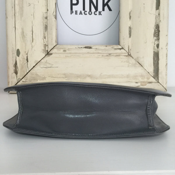 BAMBI Genuine LEATHER Grey Vintage Clutch or Handbag Classic Style CLUB Evening - Pink Peacock  - 5