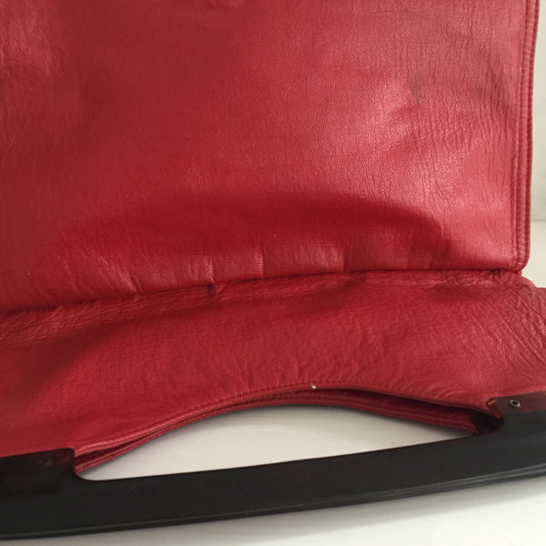VINTAGE Genuine LEATHER Red Clutch Handbag 80's GORGEOUS