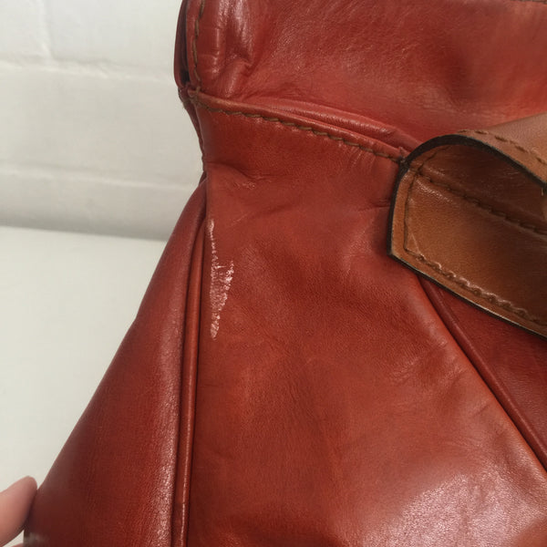 HUGE Vintage Leather Bag Sloppy Brown 80's Handbag Very COOL!!