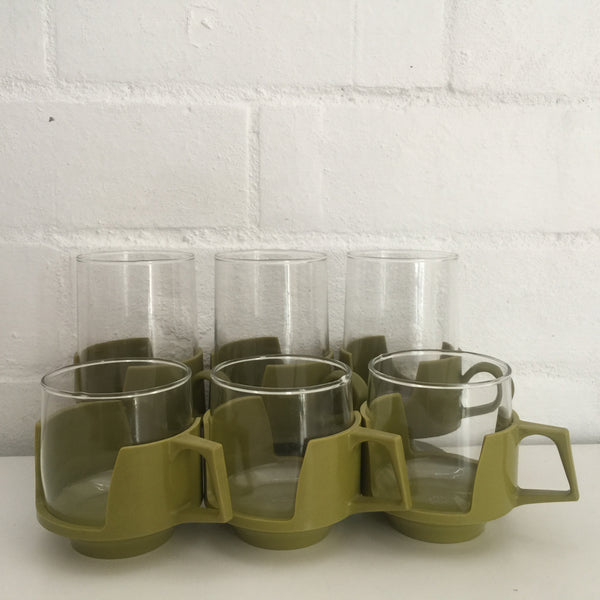 RETRO Mid Century Glasses Green Casing FABULOUS